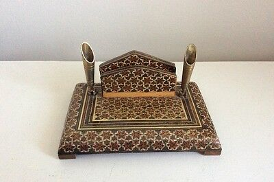Vintage Persian Khatam Inlay Pen And Business Card Holder For Desk Vgc