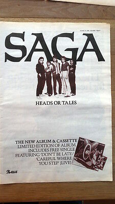 SAGA Heads Or Tales 1983 UK Poster size Press ADVERT 16x12 inches