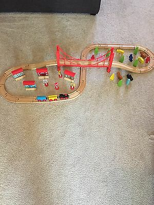 60 PC.  WOODEN TRAIN SET, CAROUSEL, Very Good Condition