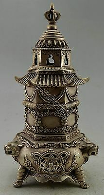 Collectible Decorated Silver Plate Copper Carved Dragon Tower Incense Burner