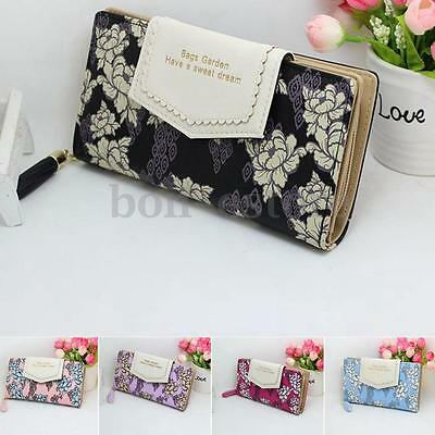 US Women Leather Wallet Long Card Holder Handbag Phone Flower Bag Clutch Purse