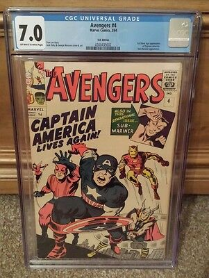 Avengers #4 CGC 7.0, 1st Silverage Appearance of Captain America!