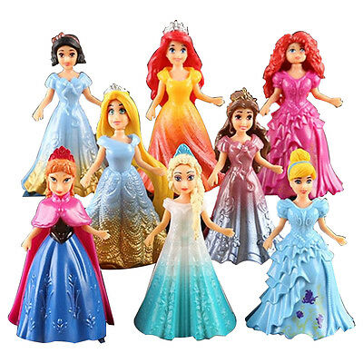 8X Cute Princess Action Figures Changed Dress Doll Kids Girl Toy XMAS Gift