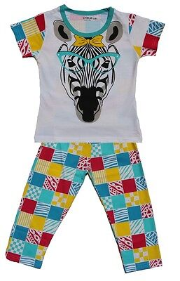 Kids Night Suit Size 0 ~ 8  Cute Zebra with Spects Print -100% Soft Cotton