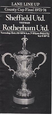 SHEFFIELD UNITED v ROTHERHAM UNITED ~ COUNTY CUP FINAL 29 OCTOBER 1974