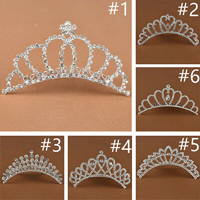 Rhinestone Crown ❤Flower Girl's Princess Wedding Hair Comb Barrette Bridal Tiara