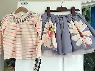 Mamas & Papas Girls Floral Tutu Skirt Top Birthday Party Outfit Set 3-4 Years