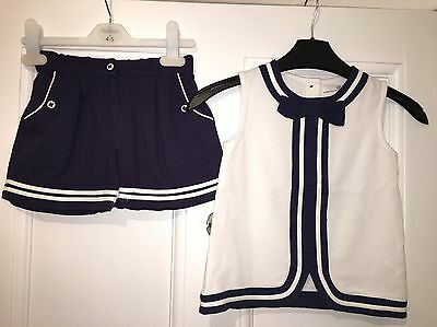 Marks & Spencer Navy White Nautical Shorts Top Outfit Age 4-5 Years Girls