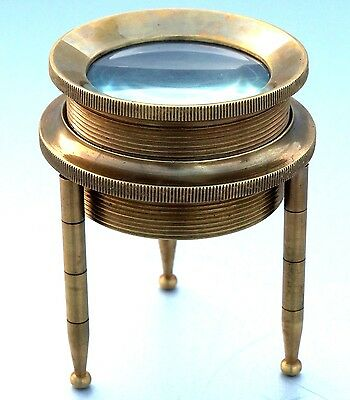 Vintage Maritime Nautical Tripod Magnifier Glass  Antique Finish Navy Gift
