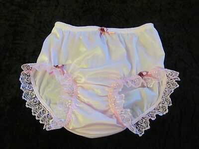 Vtg Sissy Pink Nylon Panties Knickers Pink Lace And Satin Rose Bows