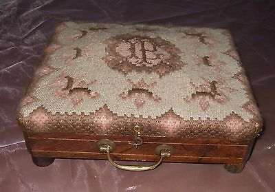 Rare Antique 19century French Hand Worked Tapestry Carriage Foot Warming Stool