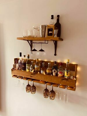 Large rustic reclaimed quirky dark pallet wood wine prosecco rack