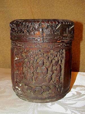 Old or Antique Carved Bamboo Lidded Jar Chinese