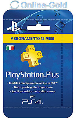 Abbonamento PLAYSTATION PLUS 12 Mesi 365 GIORNI PSN PS4 PS3 PS Vita un anno - IT