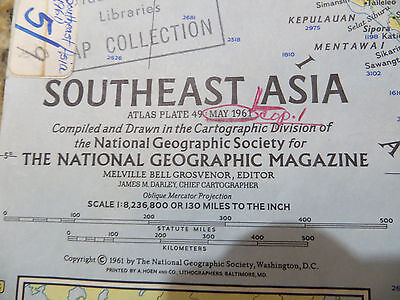 "Vintage 1961 National Geographic Map -  Southeast Asia - 19"" x 25"""