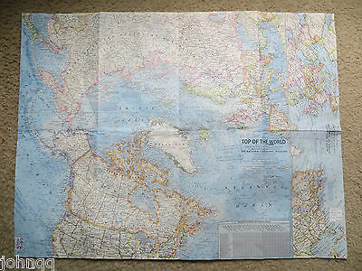 """Vintage 1965 National Geographic Map - Top of The World - 19"""" x 25"""""""