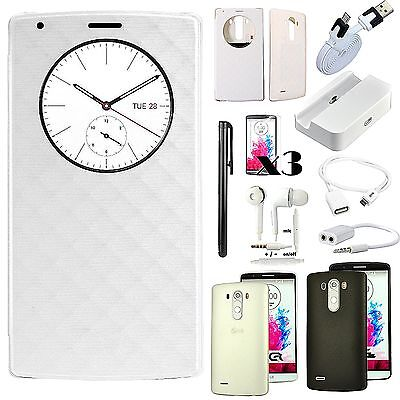 White Leather Case Cover Dock Charger Earphones Accessory Bundle For LG G4