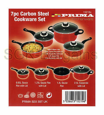 Red Carbon Steel Cookware Set 7Pc Pots And Pan Induction Set Glass Lid Frying