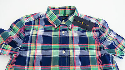 Boys Ralph Lauren  Original Blue   Plaid Cotton  Button Down Short-Sleeve Shirt.