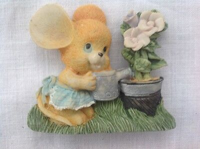 collectable Ceramic resin fridge magnet, Mouse watering flower.