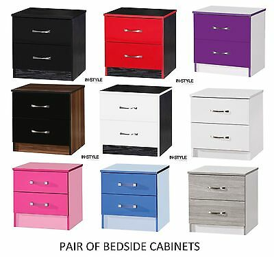 1 x High Gloss Bedside Cabinets with 2 Drawers Nightstand Drawers High Gloss