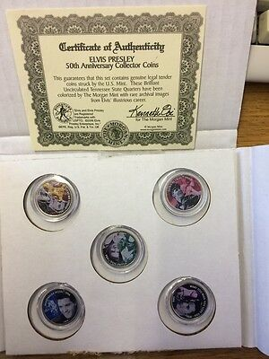 Collectable Rare Set of Elvis American Quarters With Certificate of Authenticity