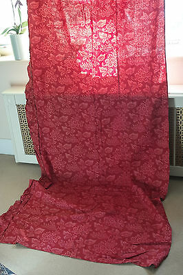 """Antique Claret red French Cotton Curtain panel c1860s Madder 36"""" x 108"""" timeworn"""