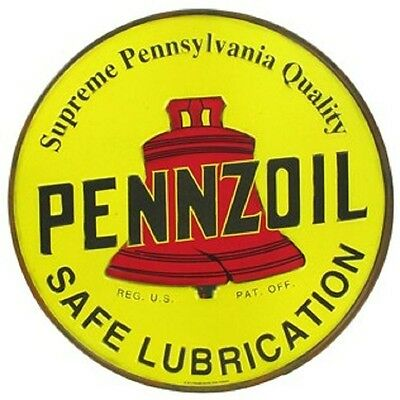 "12"" Round Embossed Yellow Pennzoil Tin Sign  Free Shipping Garage Shop Office"