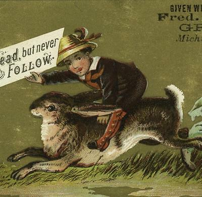 Boy Riding Bunny Rabbit Fred H Zahrn Michigan City IN Victorian Trade Card