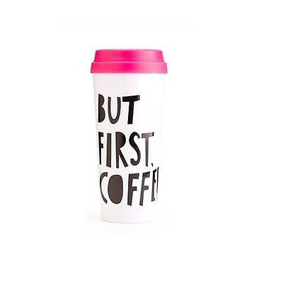 Hot Stuff Insulated Thermal Mug - But First Coffee Print Holds 16 oz by Bando