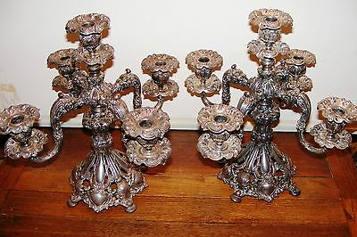 2 Beautiful Reed Barton Silver Plate Renaissance Revival 5 Light 800 Candelabra