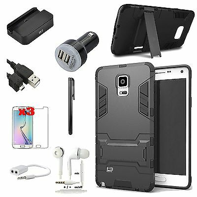 Black Kickstand Case Cover Charger Earphones Accessory For Samsung Galaxy S5
