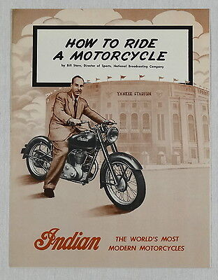 1948 INDIAN MOTORCYCLE HOW TO RIDE BILL STERN BOOKLET NY YANKEES NYC MC display