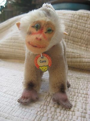 """Vintage STEIFF Mohair/Wool """"COCO"""" MONKEY / BABOON  5.5"""" w/neck tag early 1960's"""