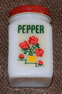 Vintage Red Pink Flower Floral Milk Glass Pepper Shaker Stove Table Top