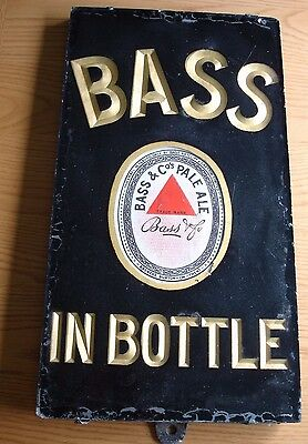 Glass, Slate and Enamel Brewery Advertising Sign. Bass in Bottle.