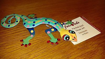 Handmade painted drum art gecko lizard fair trade