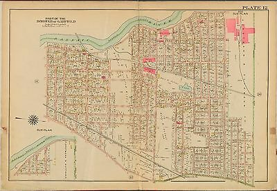 NEW JERSEY COPY ATLAS MAP RUTHERFORD MOONACHIE CARLSTADT BERGEN COUNTY 1913 E