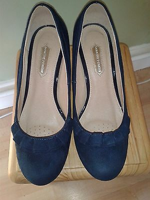 Dorothy Perkins Navy-Blue Suede Mid-Heel Court Shoes Size 5 Wedding Office