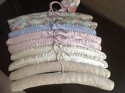Collection Of 9 Vintage Padded Satin Hangers