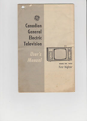 Vintage Canadian General Electric Television User's Manual