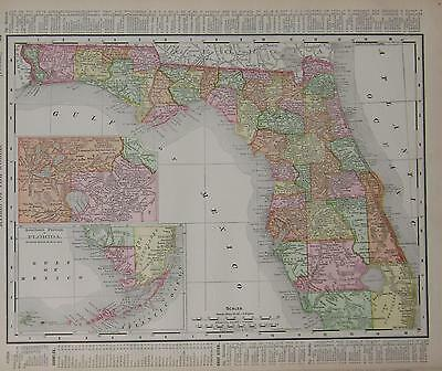 1895 Florida Original Dated Color Atlas Map* Alabama map on back .122 years-old!