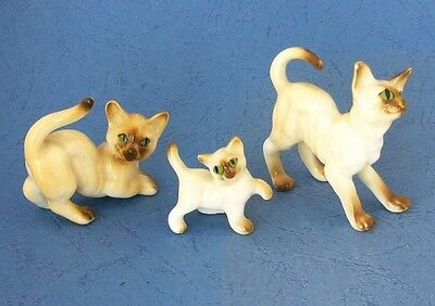 Set of 3 small porcelain china birman cat figurines
