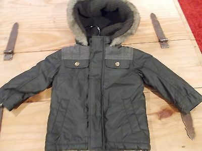 bnwt age 9-12 months boys khaki green and tweed thick fleece lined hooded jacket
