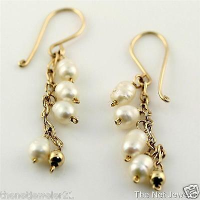 Natural Rice Pearl Dangle Drop Hook Earrings in 10K Solid Yellow Gold