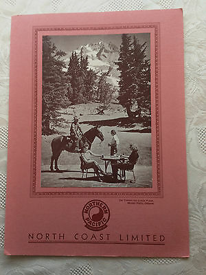 1941 Northern Pacific Railroad Dining Car Menu North Coast Limited Mount Hood