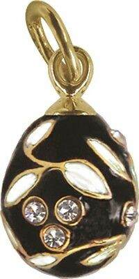 Faberge Egg Pendant / Charm with crystals 1.5 cm black #0970-13