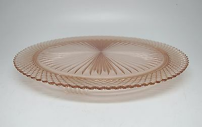 Vintage Pink Glass Round Serving Plate