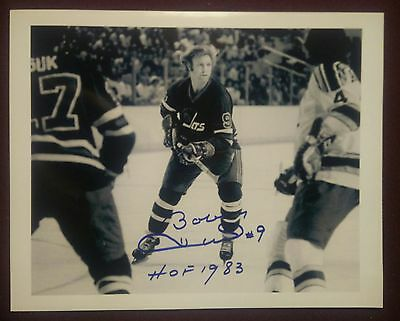 Bobby Hull Signed Winnipeg Jets 8x10 B&W inscribed photo WHA
