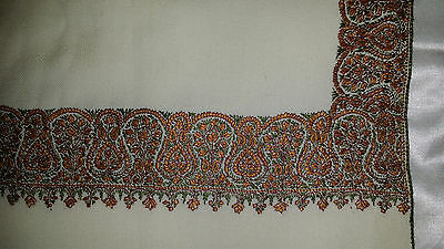 Fine wool Antique 1920s Kashmir hand embroidered shawl, covering, textile, art